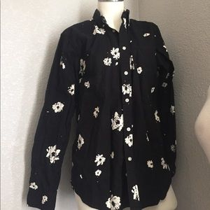 Black and white floral button-down shirt